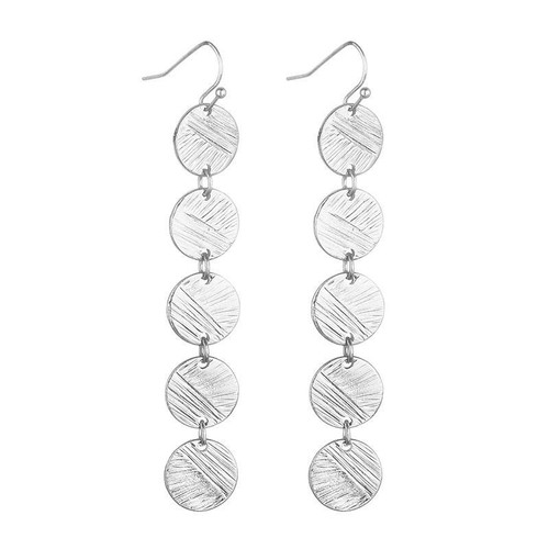 Camilla Copper Coin Disc Earrings - Silver