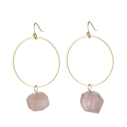 Danielle Raw Quartz Earrings - Pink