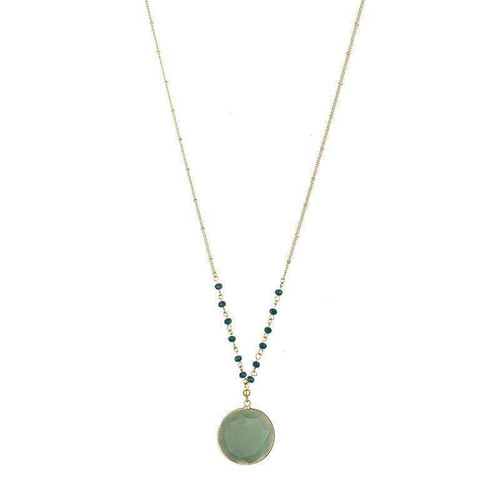 April Natural Stone Necklace - Green
