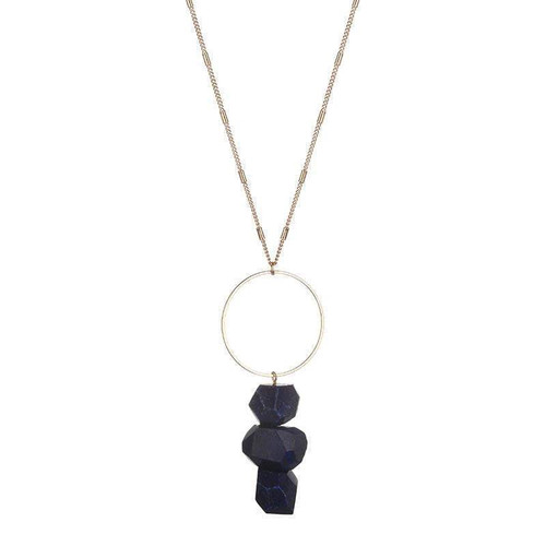 Bella Raw Quartz Necklace - Blue