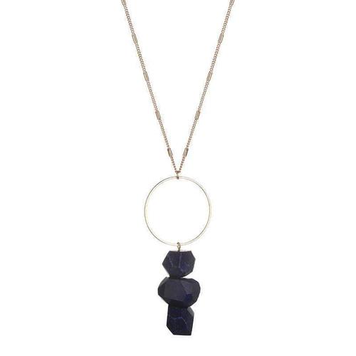 Bella Raw Quartz Necklace - Blue