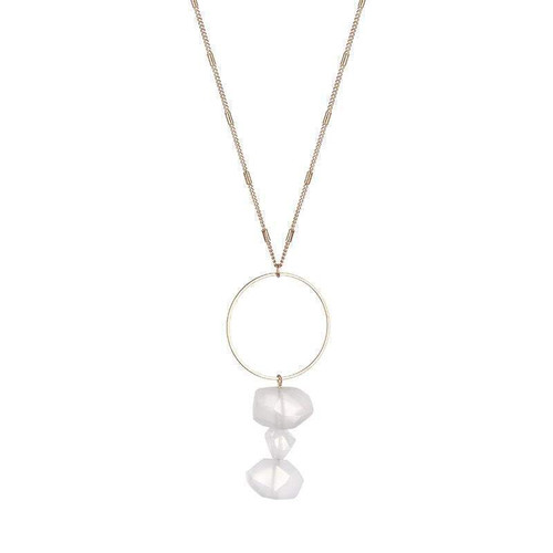 Bella Raw Quartz Necklace - Clear