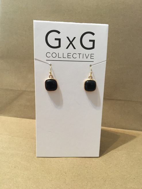 Square Onyx Earrings - Black