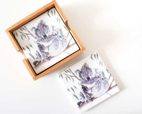 Artist Lab Ceramic Coaster Set - Koala