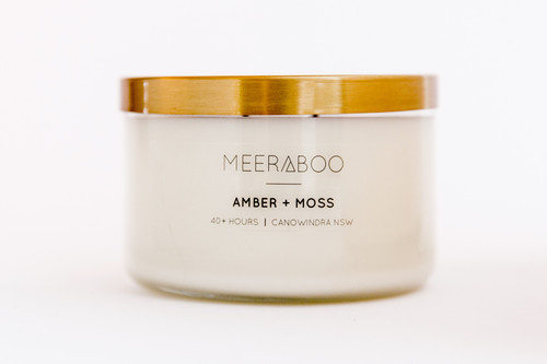 Copper Lid Amber + Moss Soy Candle - 270gms 40 Hours