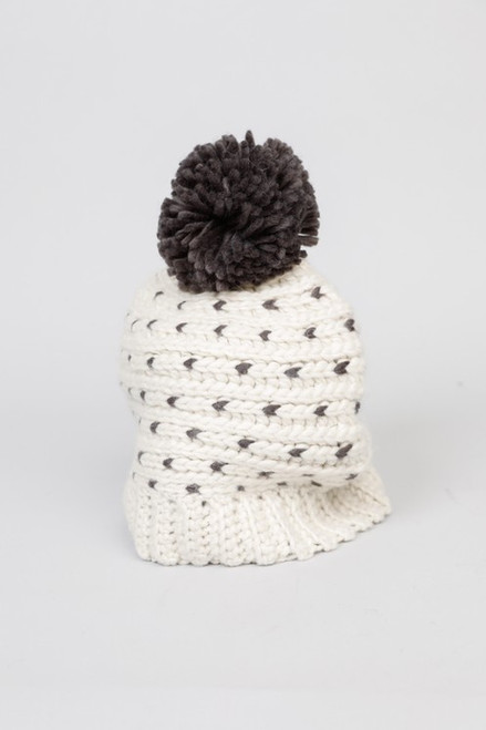 Darby Beanie - Ivory/Charcoal