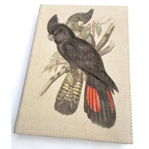 """Journal - Black Parrot Canvas  7"""" x  5"""""""