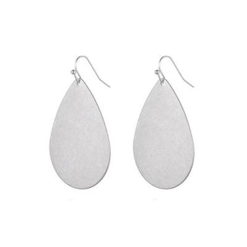 Jenny Brushed Metal Earrings - Silver