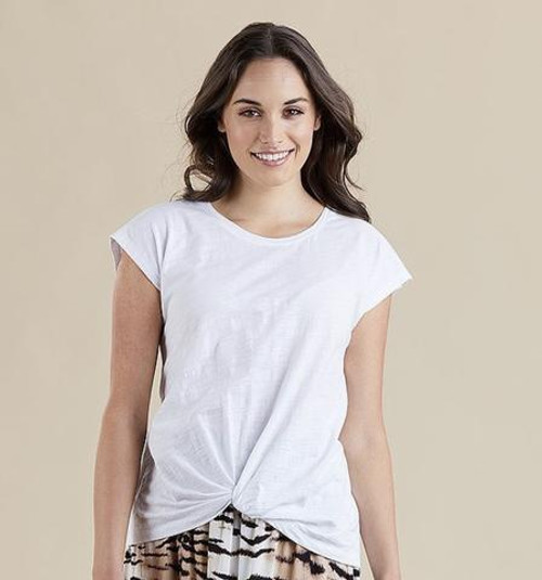 Knot Front Tee - White