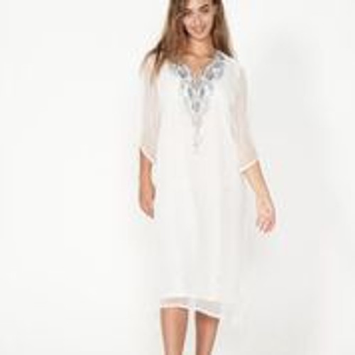 Beaded Dress With Sheer Sleeves And Tassel - White