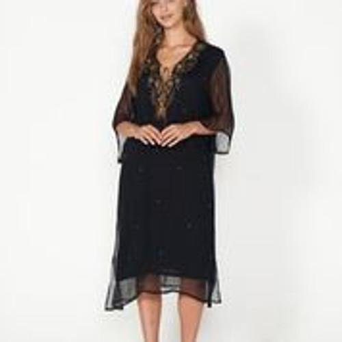 Beaded Dress With Sheer Sleeves And Tassel - Black