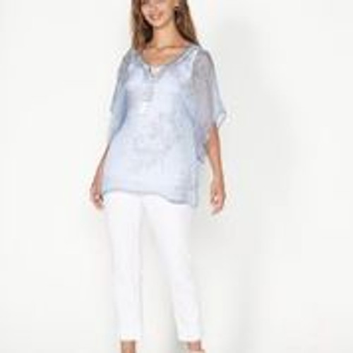 Beaded Blouse With Floaty Sleeves - Blue
