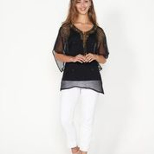 Beaded Blouse With Floaty Sleeves - Black