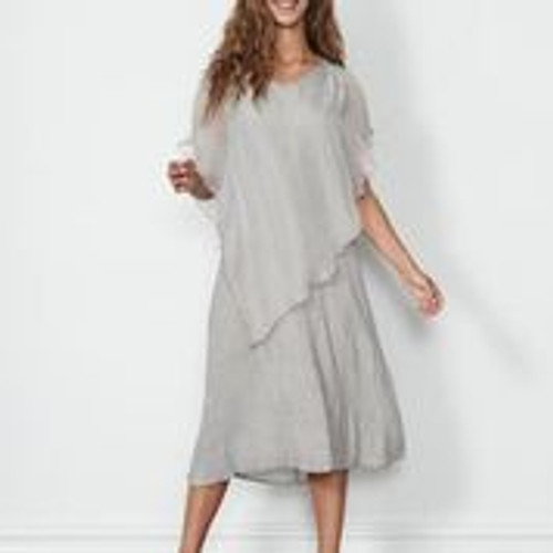 Sheer Floaty Overlay Dress - Stone