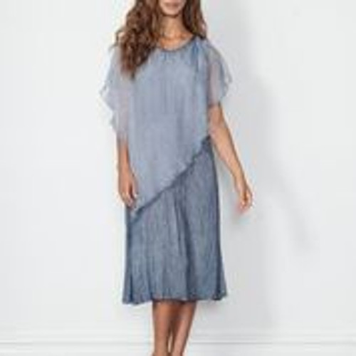 Sheer Floaty Overlay Dress - Blue