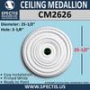 "CM2626 Decorative Ceiling Medallion 3 1/4"" Hole x 25-1/2"" Round"