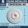 "CM3232AL-45 Decorative Ceiling Medallion 4"" Hole x 45"" Round"