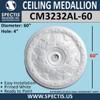 "CM3232AL-60 Decorative Ceiling Medallion 4"" Hole x 60"" Round"