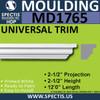 """MD1765 Spectis Molding Cap Trim 2 1/2""""P x 2 1/2""""H x 144""""L"""