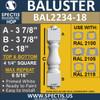 "BAL2234-18 Spectis Urethane Railing Baluster 4 1/4"" x 18"""