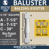 "BAL2241-31EXT39 Spectis Urethane Railing Baluster 4 1/8"" x 39"""