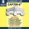 """CAP700-6 Scamozzi Cap 6 1/4"""" Hole x 10""""W x 4 1/4""""H"""