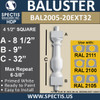 """BAL2005-20EXT32 Urethane Baluster or Spindle 4 1/2""""W X 32""""H"""