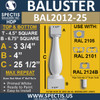 """BAL2012-25 Urethane Baluster or Spindle 4 1/2""""W X 25""""H"""
