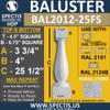 """BAL2012-25FS Urethane Fossil Stone Baluster 4 1/2""""W X 25 1/2""""H"""