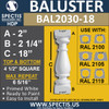 "BAL2030-18 Urethane Baluster or Spindle 4 1/2""W X 18""H"