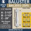 """BAL2031-25FS Urethane Fossil Stone Baluster 4 1/2""""W X 25""""H"""