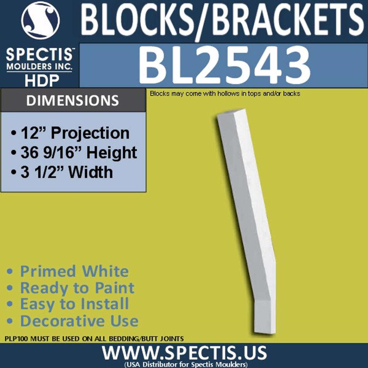 "BL2543 Eave Block or Bracket 3.5""W x 36.5""H x 12"" P"