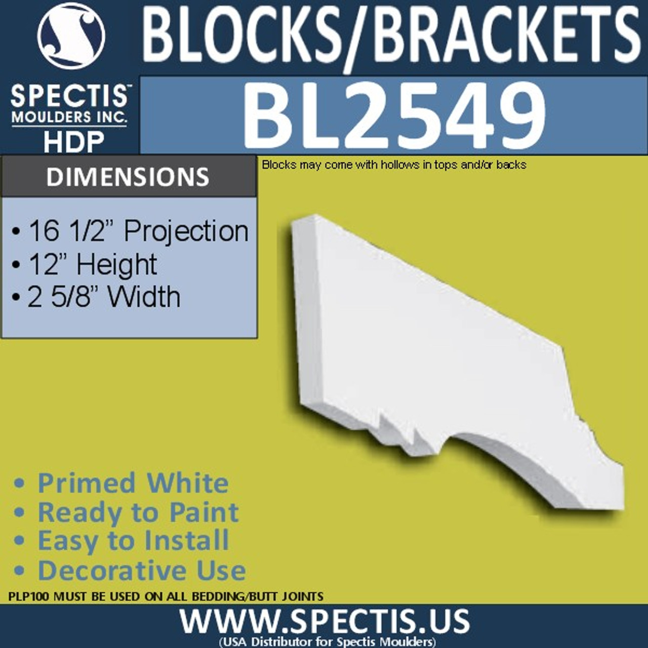 "BL2549 Eave Block or Bracket 2.5""W x 7.25""H x 16.5"" P"