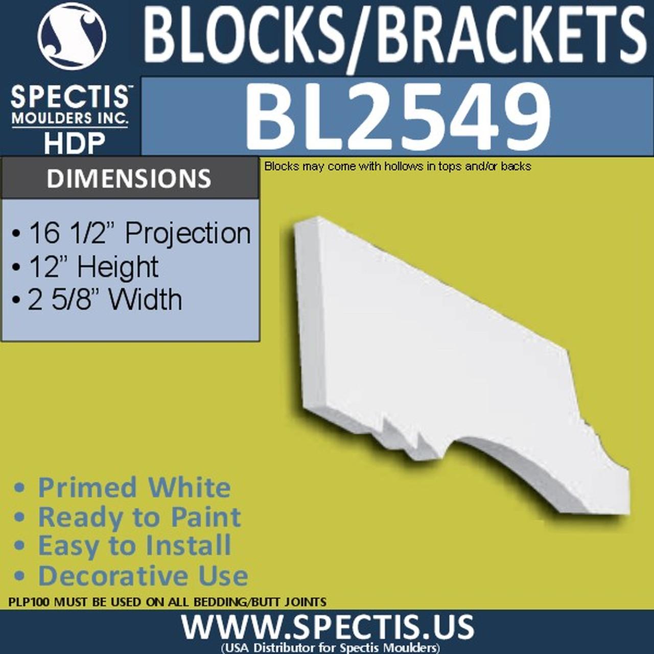"BL2549 Eave Block or Bracket 2.5""W x 7.25""H x 16.5"" P"