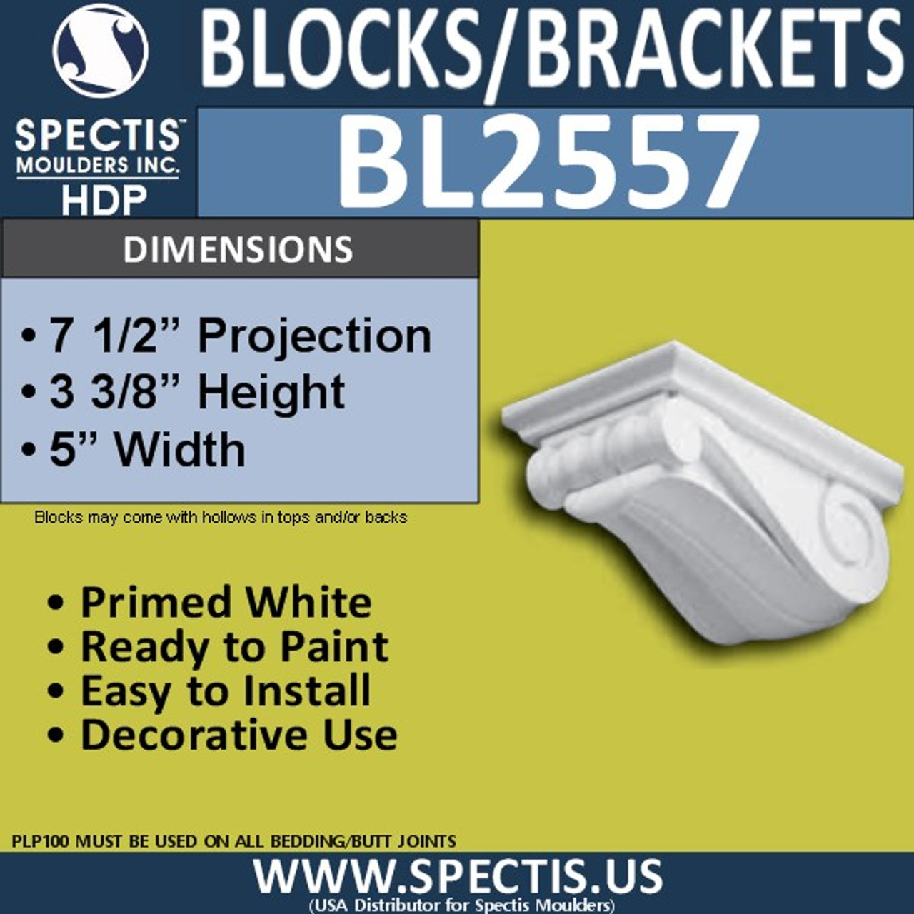 "BL2557 Eave Block or Bracket 5""W x 3""H x 7.5"" P"