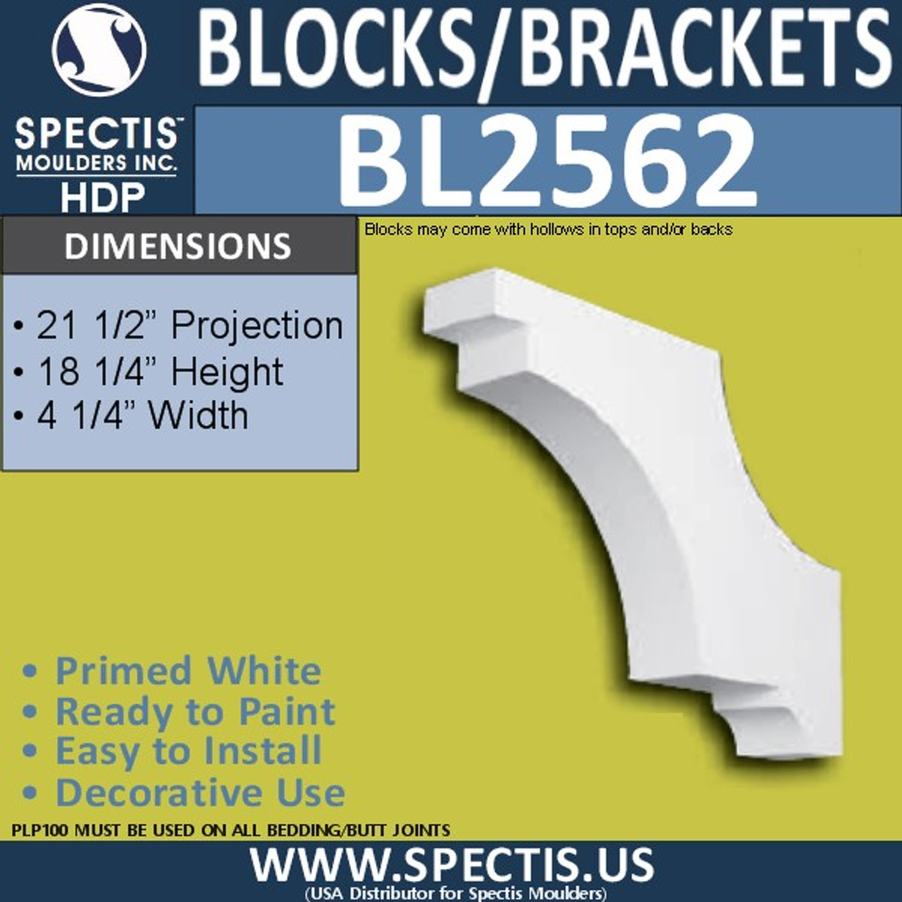 "BL2562 Eave Block or Bracket 4.25""W x 24.5""H x 18.25"" P"