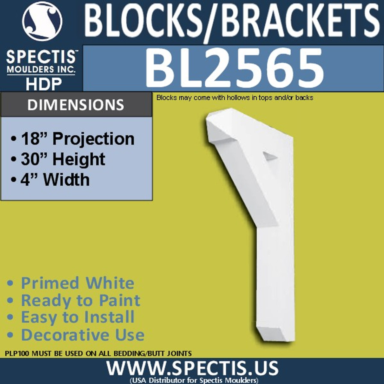 "BL2565 Eave Block or Bracket 4""W x 18""H x 30"" P"