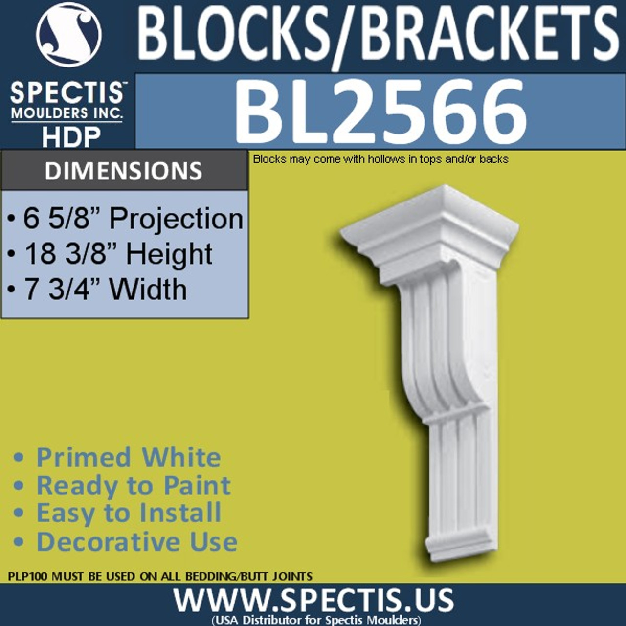 "BL2566 Eave Block or Bracket 7.75""W x 18.5""H x 6.5"" P"
