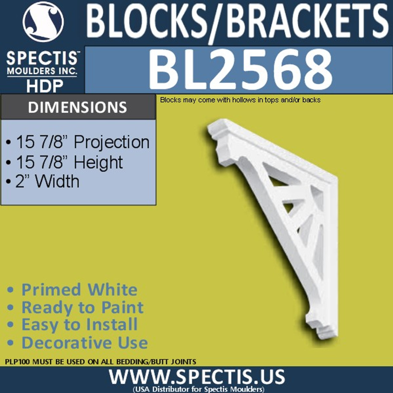 "BL2568 Eave Block or Bracket 2""W x 16""H x 16"" P"