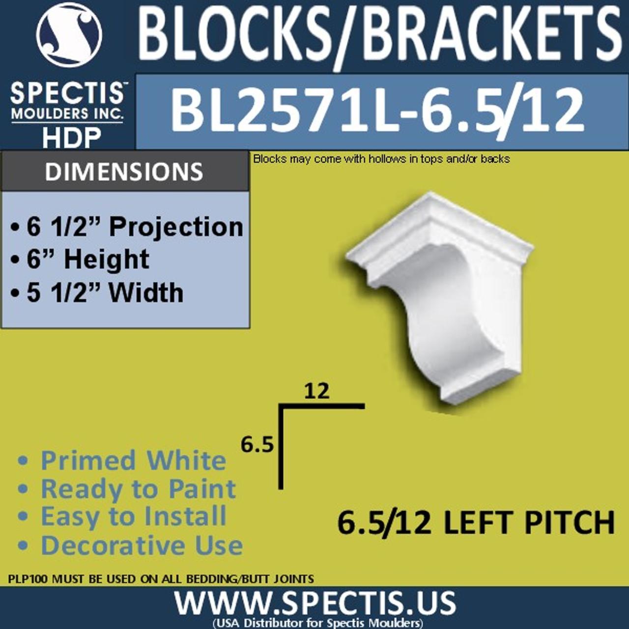 """BL2571L-6.5/12 Pitch Eave Bracket 5.5""""W x 6""""H x 6.5"""" P"""