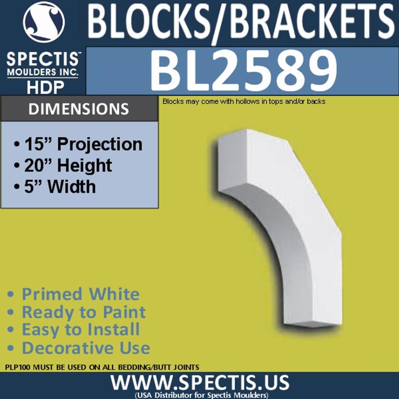 "BL2589 Eave Block or Bracket 5""W x 20""H x 15"" P"