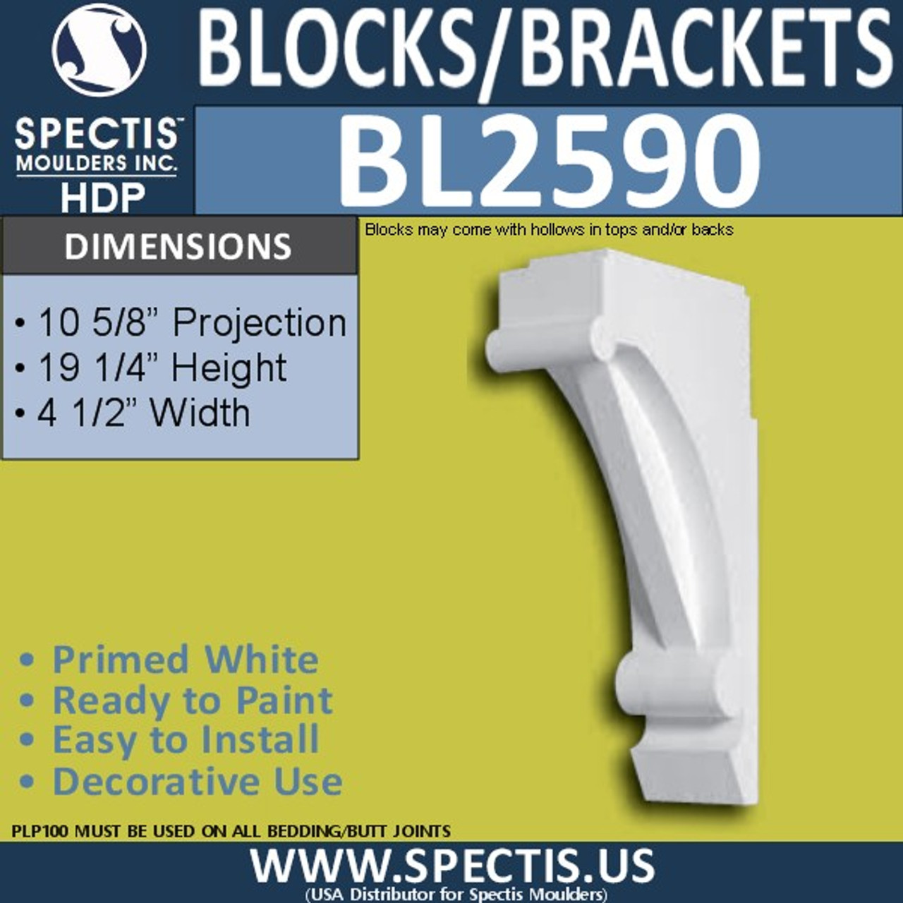 "BL2590 Eave Block or Bracket 4.5""W x 19.25""H x 10.5"" P"