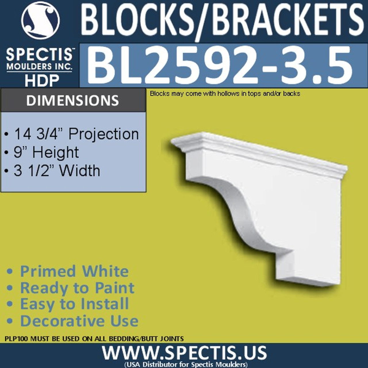 "BL2592-3.5 Eave Block or Bracket 3.5""W x 9""H x 14"" P"