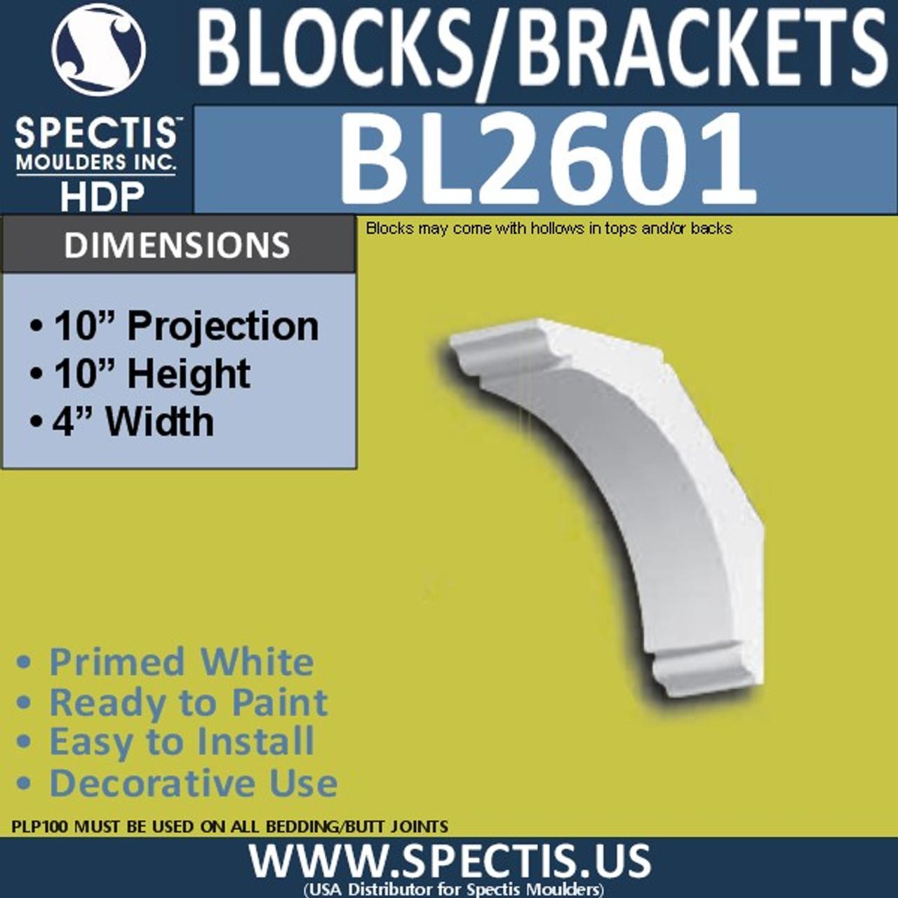 "BL2601 Eave Block or Bracket 4""W x 10""H x 10"" P"