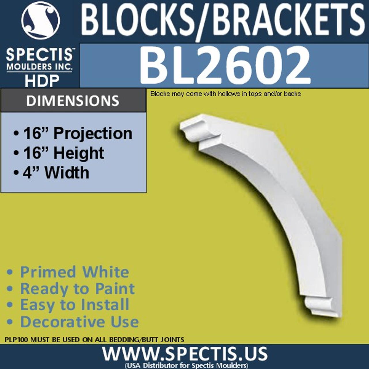 "BL2602 Eave Block or Bracket 4""W x 16""H x 16"" P"