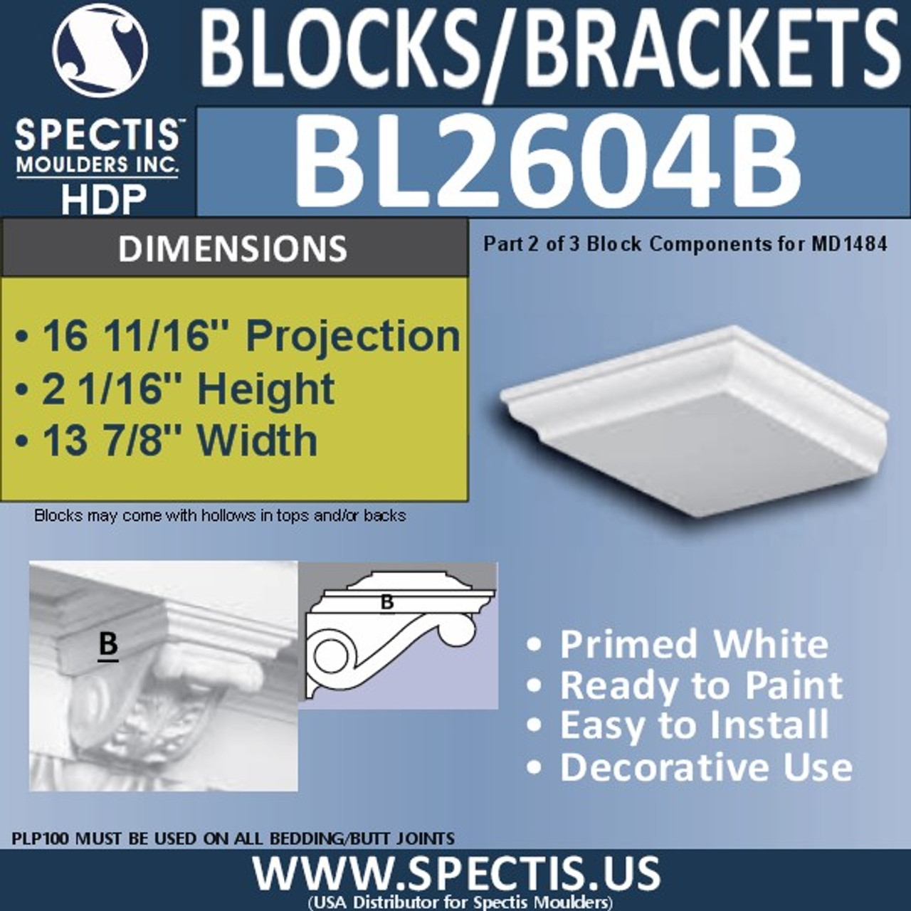 "BL2604B Eave Block or Bracket 13""W x 2""H x 16"" P"