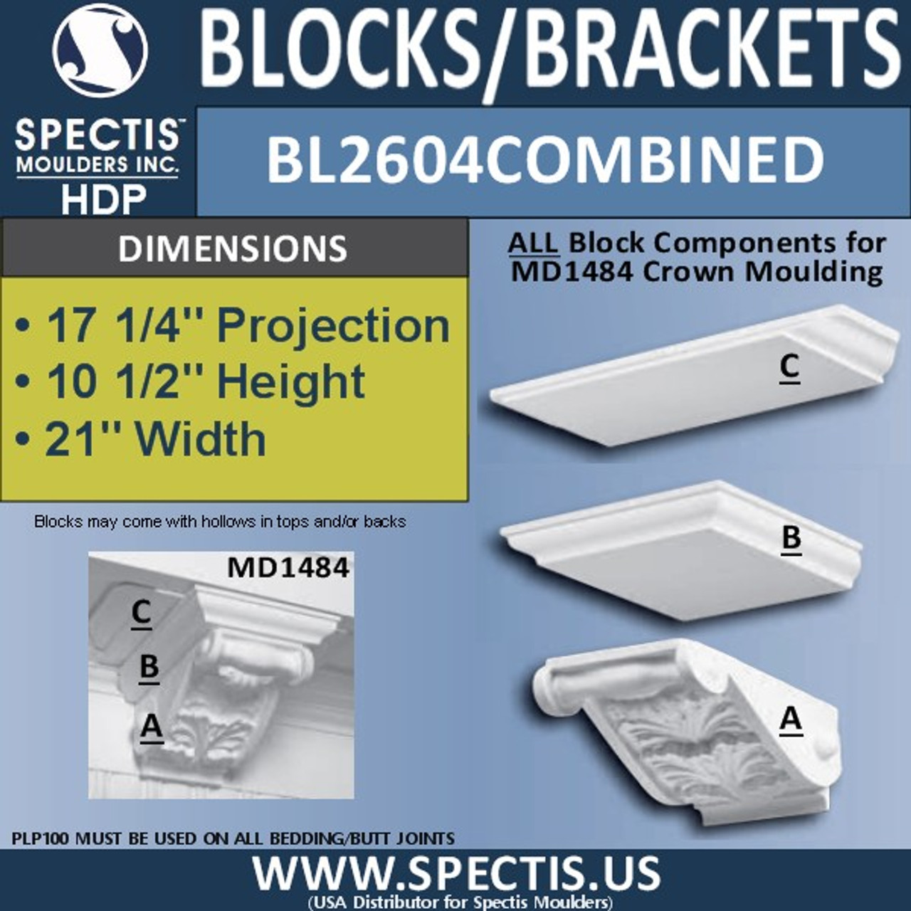 """BL2604 Combined Eave Block 21""""W x 10""""H x 17"""" P"""
