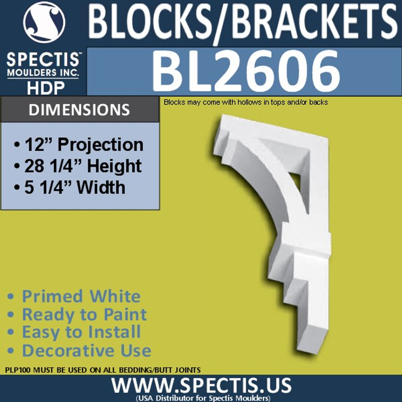 "BL2606 Eave Block or Bracket 5.25""W x 28.25""H x 12"" P"