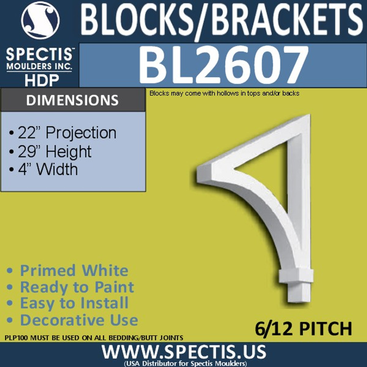 "BL2607 Eave Block or Bracket 4""W x 29""H x 22"" P"