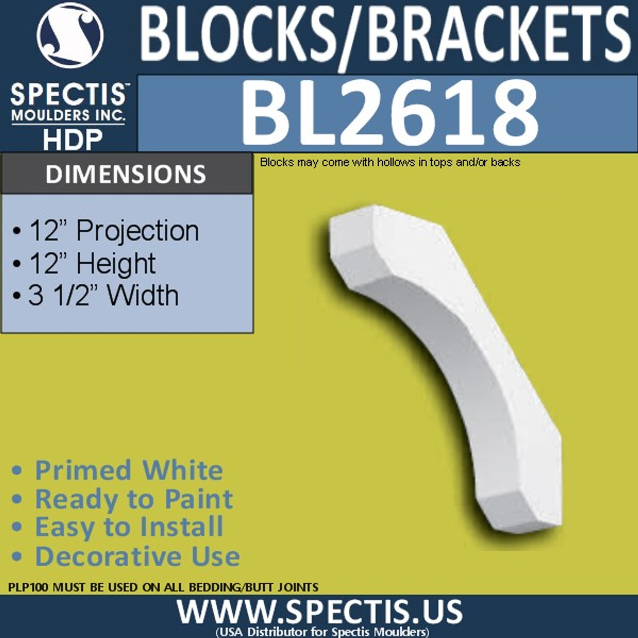 "BL2618 Eave Block or Bracket 3.5""W x 12""H x 12"" P"
